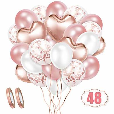 Crislove Rose Gold Balloon Set, 48pcs Foil Balloons Set with Confetti Balloons & Ribbons for Birthday, Weddings, Baby Shower Party, Festival Decorations, Business Event