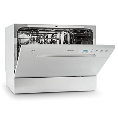 Klarstein Amazonia 6 Table Dishwasher – Class A+, 1380 W, 6 Place Settings, 49 dB, Energy Efficient Design, Low Noise Level, Includes Cutlery Basket Extra Support, Easy to Clean, Silver