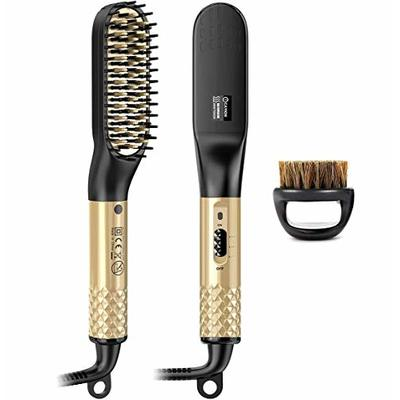 Beard Straightener for Men, Professional Quick Beard Straightening Comb& Hair Brush Comb, Ceramic Ion Heating Electric Hot Comb Anti-Scald Beard Comb Dual Voltage with Beard Brush as Christmas Gift