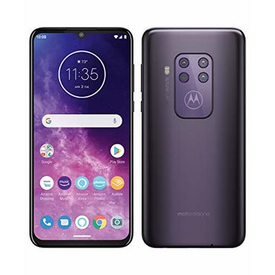 Motorola One Zoom with Alexa Hands-free Dual SIM Smartphone (6.4 Inch FHD+ Display, Quad Camera System, 128 GB/4 GB, Android 9.0, Headset + Cover), Cosmic Purple [Amazon Exclusive]