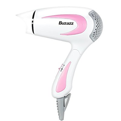Buzazz Hair dryer Professional Folding Handle Compact Travel Hairdryer 1100W Powerful Blow Dryer White