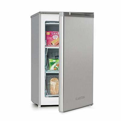 Klarstein Garfield XL Freezer – 75 litres Capacity, Energy Efficiency Class A +, Drawers with Transparent Front, Adjustable Thermostat with 4 Levels, Height Adjustable, 39 dB, Colour: Silver