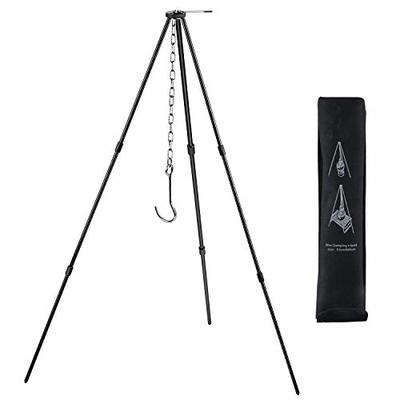 Tong shop Camping Tripod Campfire Cooking Dutch Oven Tripod Adjustable Grill Tripod Cooker Campfire Grill Stand Tripod Grilling Set Cooking Lantern Tripod Hanger for Camping, Picnic,Party