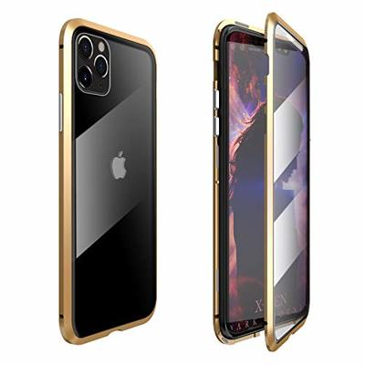 Coopts For iPhone 11 Pro Max 6.5 inch 2019 Magnetic Case, Full Body Anti-Scratch Protective 9H Tempered Glass Hard Back Cover Screen Protector Metal Bumper Frame for iPhone 11 Pro Max 6.5″ 2019, Gold