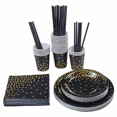 Aneco 146 pieces Black With Gold Foil Party Supplies Disposable Party Tableware Set for Graduation, Party, for 24 Guests