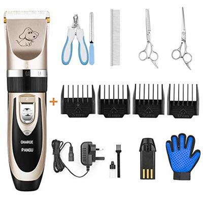 PANGU Dog Clippers Professional Pet Grooming Kit Low Noise, Rechargeable Pet Shaver Cordless Silent Dog Hair Trimmer with scissors comb Best Hair Clipper for Dogs Cats pets