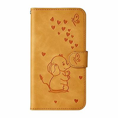 Samsung S10 Plus Case, Flip Shockproof PU Leather Wallet Cover Elephant & Butterfly with Stand Magnetic Holder TPU Gel Bumper Folio Slim Fit Protective Phone Case for Samsung Galaxy S10 Plus Yellow