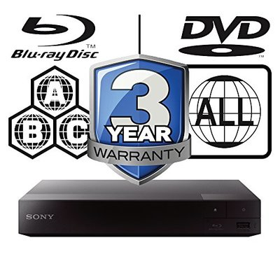 SONY BDP-S3700 smart wifi Multi Region-Free All Zone Blu-ray Player. Blu-ray Zones A, B and C, DVD Regions 1 – 8