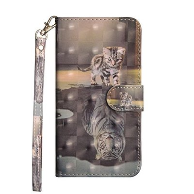 Huawei P20 Lite Cover Flip, Shockproof 3D Premium Soft PU Leather Notebook Wallet Case with Magnetic Stand Card Holder ID Slot Folio TPU Bumper Protective Skin Case for Huawei P20 Lite Cat & Tiger
