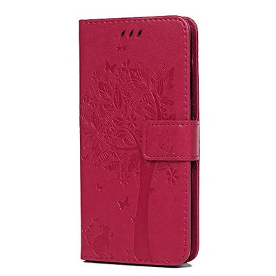 Huawei P20 Lite Case, Premium PU Leather Flip Notebook Wallet Case Embossed Cat Butterfly with Magnetic Stand Card Holder ID Slot Folio Soft Protective Skin Case Cover for Huawei P20 Lite Rose Red