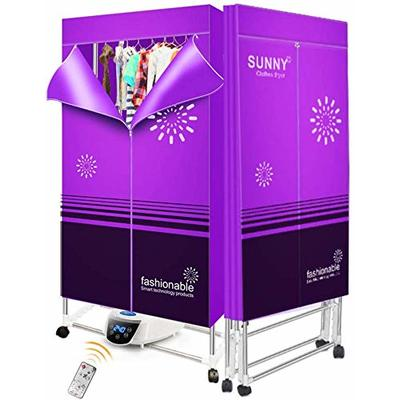 Electric Clothes Dryer Portable Drying Rack Heater 2 Tier Folding Indoors Fast Air Dry Hot Drys Machine, 1300W Warm Air Drying Wardrobe with Remote Control,Purple