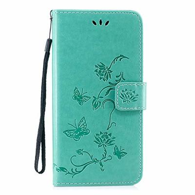 Thoankj Samsung Galaxy A10 Phone Case 2019, PU Leather Flip Notebook Wallet Case Embossed Lotus Butterfly with Stand Card Holder Slot Folio TPU Bumper Protective Cover for Samsung Galaxy A10 Green