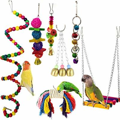 CAMITER Bird Toys Parrots Toy 7pcs Hanging Swing Chewing Bell Toy for Cage Conures Parakeets Cockatiels Macaws Finches Mynah Budgies and Lovely Birds
