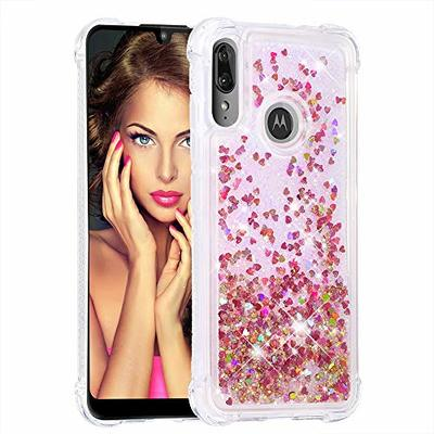 Motorola Moto E6 Plus Case Bling Glitter Clear Shockproof Flowing Floating Liquid Phone Case Shiny Sparkle Quicksand Star Moving Flexible Bumper Protective Cover for Motorola Moto E6 Plus Rose Gold