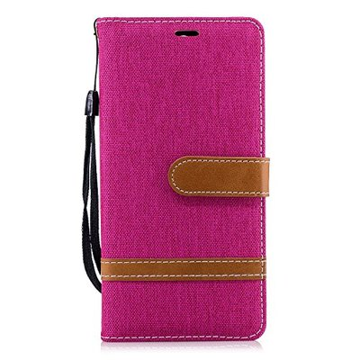 Nokia 3.1 Phone Case, Shockproof Flip Premium Soft PU Leather + Denim Notebook Wallet Case with Magnetic Stand Card Holder ID Slot Folio TPU Bumper Protective Skin Cover for Nokia 3.1 Hot Pink