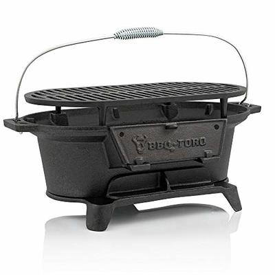 BBQ-Toro – Cast Iron Barbecue with Cooking Grate – 50 x 25 x 23 cm – Charcoal Camping Grill Hibachi-Style