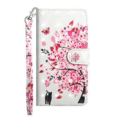Huawei P30 Pro Case 2019, Shockproof 3D Premium PU Leather Flip Notebook Wallet Case with Magnetic Stand Card Holder Slot Folio TPU Bumper Protective Phone Case for Huawei P30 Pro Cat & Tree