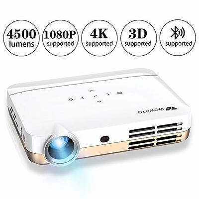 WOWOTO H10 Video Projector Android 6.0 Smart 3D DLP Projector 4500 Lumen Support 4K 1080P with 2GB RAM/16GB ROM HDMI WiFi Bluetooth with Portable Carrying Case