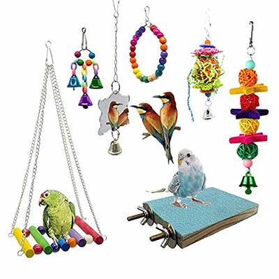 CUHAWUDBA 7 Pcs Set Bird Swing Chewing Toys Parrot Hammock Bell Toys Suitable for Small Parakeets Cockatiels Conures Finches Budgie Macaws Parrots Love Birds