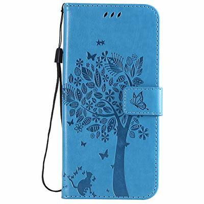 Thoankj Nokia 3.2 Phone Case 2019, Shockproof PU Leather Flip Wallet Case Cat & Tree with Magnetic Stand Card Holder Slots Folio Soft TPU Bumper Protective Cover for Nokia 3.2 Blue
