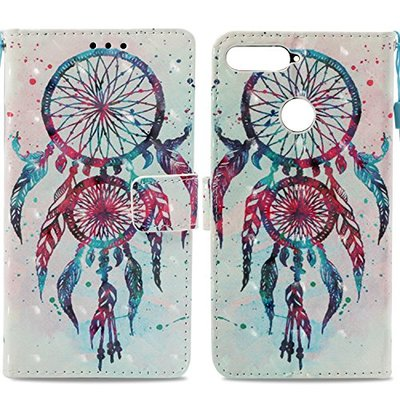 Huawei Y6 2018 Case, Honor 7A Cover, 3D PU Leather Flip Notebook Wallet Case with Magnetic Stand Card Holder ID Slot Folio TPU Bumper Protective Skin Cover for Huawei Y6 2018 / Honor 7A Dream Catcher