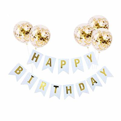 KungFu Mall Birthday Party Decoration Kit, 1 Happy Birthday Banner and 5 Pcs Gold Confetti Balloons for Birthday Party Decorations, Party Supplies