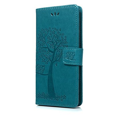 Tophung Huawei P20 Cover Flip, Shockproof Premium PU Leather Flip Wallet Case Embossed Owl & Tree with Kickstand ID Card Holder Folio Magnetic Closure Protective Skin Case Cover for Huawei P20 Blue