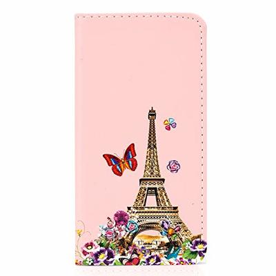 Samsung Galaxy A40 Flip Cover Shockproof Premium PU Leather Wallet Phone Case with Magnetic Kickstand ID Card Holder Slot Folio TPU Bumper Protective Skin Case for Samsung Galaxy A40Eiffel Tower
