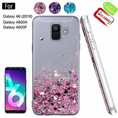 Case for Galaxy A6 2018 with HD Screen Protector, Galaxy A6 2018 Cases Glitter Liquid Quicksand Clear TPU Silicone Shockproof Cover Shell for Samsung Galaxy A6 2018 Rose Gold