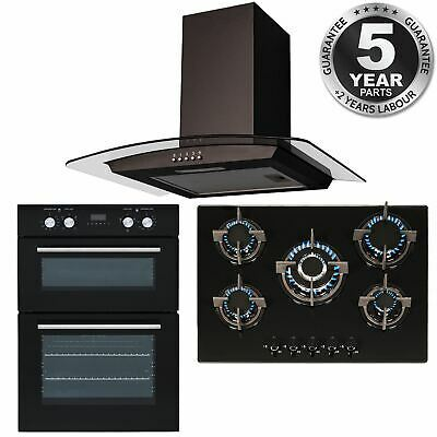 SIA Double Built In Electric Fan Oven, 5 Burner Gas Hob And Curved Glass Hood