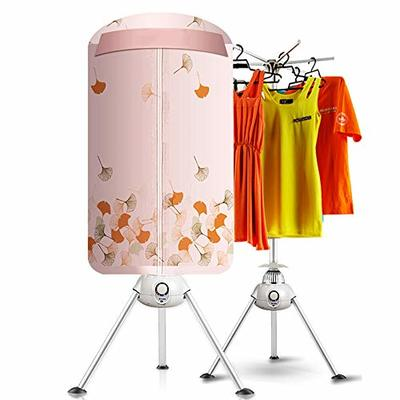 TQMB Portable Clothes Dryer Electric Drying Rack,1000W Round Clothing Dryers Heater,Foldable Warm Air WardrobeAutomatic Timer,Pink