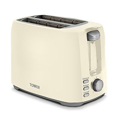 Tower Elements 2-Slice Toaster with Variable Browning Control, Defrost, Reheat and Cancel Settings, Removable Crumb Tray, 750 W, Cream