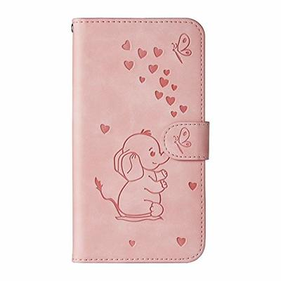 Thoankj Samsung Galaxy S9 Case, Flip Shockproof PU Leather Wallet Cover Elephant & Butterfly with Stand Magnetic Holder TPU Gel Bumper Folio Slim Fit Protective Phone Case for Samsung Galaxy S9 Pink