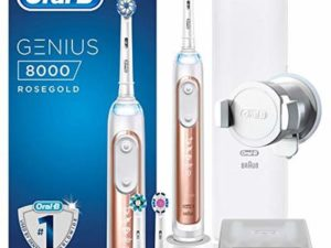 Oral-B Genius 8000 Sensi Ultra Thin Electric Toothbrush, 1 Rose Gold App Connected Handle, 5 Modes with Sensitive and Gum Care, Pressure Sensor, 3 Toothbrush Heads, Travel Case, 2 Pin UK Plug