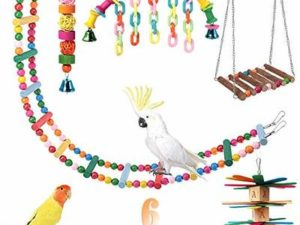 PowerKing Parrot Toys,Hanging Wooden Ladder Bird Hammock Chew Perches Cage Finch Toy with Bells for Bird Macaws Cockatiels Parakeets African Grey Parrot Lorikeets Conures Finches Budgie Parakeets