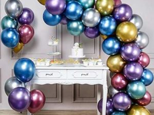 PartyWoo Metallic Balloons, 50 PCS 12 Inch Shiny Balloons in Gold, Red, Blue, Purple, Silver and Green, Metallic Balloon for Princess Ariel Party, Little Mermaid Party Decorations, Space Party