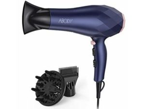Abody Professional Hair Dryer, 2200W Negative Ion Blow Dryer 2 Speed and 3 Heat Setting, Quick Dry Light Weight Low Noise Hair Dryers with Diffuser & Concentrator & Comb