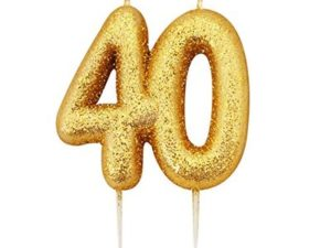Gold Glitter Happy Birthday Number Candles – 18, 21, 30, 40, 50, 60, 70, 80