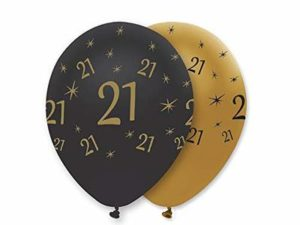 Pack of 6 Gold and Black Happy Birthday Age 21 Latex Balloons – RB284