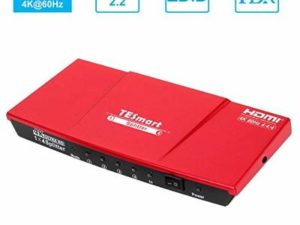 TESmart 1×4 HDMI Splitter 4K- 4 Way HDMI Splitter 1 In 4 Out Switcher Support 4K@60Hz HDCP 2.2 1080P 3D EDID for Xbox One,PS4 Sky Box Fire Stick,DVD Player(Red)
