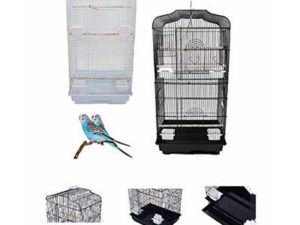 37″ Rooftop Metal Large Bird Parrot Cage Carrier For Canary Budgie Cockatiel In Black & White (White)