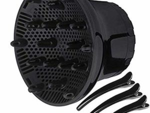 Scirocco Hair Diffuser [Upgrade Version] Universal Hair Diffuser Dryers Attachment for 1.4 inch to 2.6 inch Hairdryer Blower Diffuser Perfect for Curly or Natural Wavy Hair with 3 Black Clips