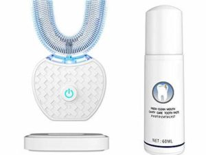 """Ultrasonic Automatic Toothbrush,Ultrasonic Electric Toothbrush and Teeth whitening kit 30"""" Automatic Timer, Wireless Charging Toothbrush Washable Travel Home Dual-use (White)"""