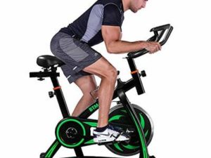 Indoor Cycling Exercise Bike Spin Bike Studio Cycles Exercise Machines Adjustable Handlebars & Seat On Board Computer Reads Speed, Distance, Time, Calories + Pulse (Green)