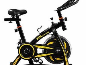 CLEAR-S Indoor Cycling Bike Exercise Bike with Flywheel, Spinning Fitness Bike for Home Cardio Workout, Adjustable Seat and Handlebars (Yellow)