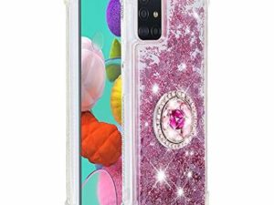 FAWUMAN Liquid Sparkly Quicksand TPU Gel Silicone Shockproof Phone Cover[Diamond Ring] Cases for Samsung Galaxy A51 (Rose gold)