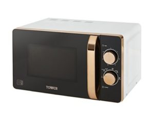 Tower Manual Solo Microwave with 6 Power Levels, 30 Minutes Timer, Defrost Function, 800 W, 20 Litre, White and Rose Gold