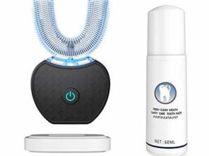 Electric Toothbrush, Automatic 360 ° Ultrasonic Electric Toothbrush, Cold Tooth Whitening Instrument Automatic Toothbrush,Suitable for Adults (Black)