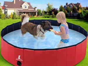 Wimypet S-L Foldable Dog Swimming Pool, Pet Dog Cat Bathing Tub Indoor Outdoor Puppy Pool,PVC non-slip with Reinforced Oxford Walls Bathing Tub Durable Dogs Paddling kids Pool in Yard Garden