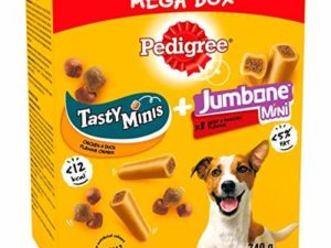 Pedigree Mega Box – Small Dog Treats with Tasty Minis and Jumbone chews 740g